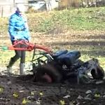 Мотоблок МТЗ-09 для женщин с передними колёсами и трёхточечной навеской