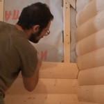Монтаж   внутреннего  угла из блок хауса